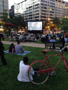 Farragut Square outdoor movie screen rental
