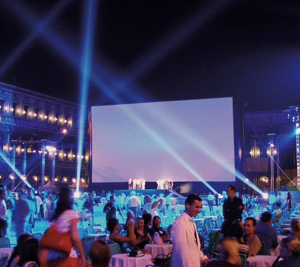 Outdoor movie event in Milan, Italy